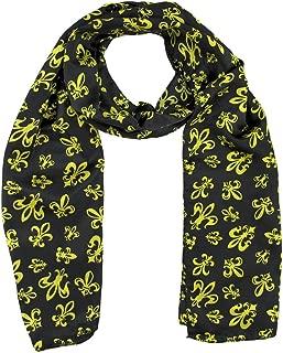 Black /& Gold Fleur De Lis Sequined Shawl scarf New Orleans Saints Mardi Gras Table Runner