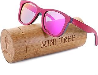 Mini Tree Women Skateboard Wood Sunglasses Polarized Wayfarer Men Sun Shades with Bamboo Case