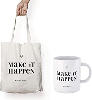 MOTIVATIONAL TOTE BAG & MUG GIFT SET - MAKE IT HAPPEN - Positive Mantra Affirmation to uplift you all day long. Birthday p...