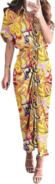 GCETTIC Dresses for Women,Casual Womens V-Neck Irregular Long Maxi Dress Loose Short Sleeve Party Long Dress