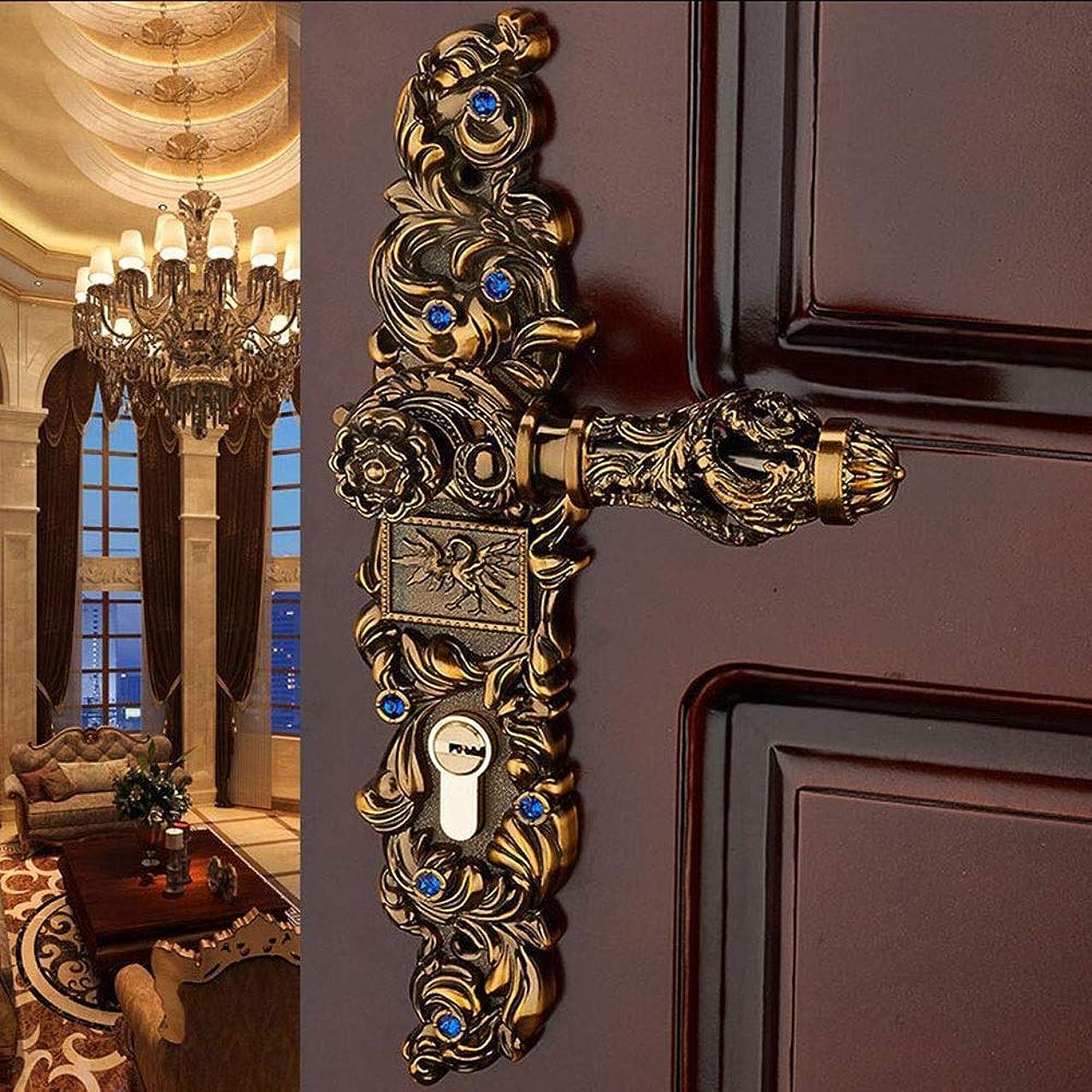 アイザックタイピスト粒子BeiWang ヨーロッパの美しい柄の木製のドアロック電着のためのヴィンテージのドアロックのコーヒー色のクラシック亜鉛合金のドアロックハンドル (Color : Full set)