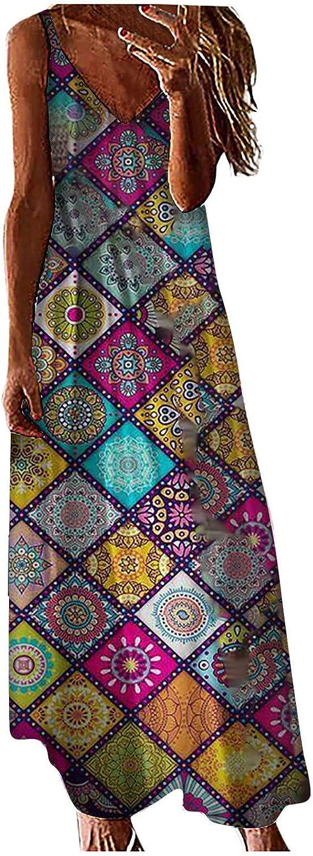 Jaqqra Summer Dress for Women Tie Dye Print V Neck Spaghetti Strap Dress Long Maxi Dress Casual Loose Pockets Sundress