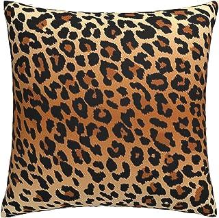 Black Leopard Animal Skin Printed Italian Velvet Cushion Cover Brown Mustard Beige Yellow Orange Pillow Case Modern Style Panther Dots
