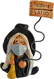 Figura decorativa Bruja Suerte Mascarilla Negra 100% hecha a mano