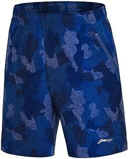 LI-NING Men Badminton Competition Sport Shorts 91.1% Polyester 8.9% Spandex Lining Comfort Sports Shorts AAPN035