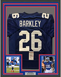 1b848ffdf Framed Autographed Signed Saquon Barkley 33x42 New York Blue Football  Jersey JSA COA