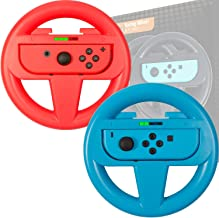 Orzly Steering Wheels [TWIN PACK] Compatible With Switch Joy-Cons - Pack of RED & BLUE Steering Wheel Accessory Attachment...