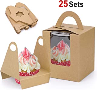 Konsait Rustic Kraft Cupcake Boxes Single Cupcake Holder Individual Containers with Window Insert and Handle for Bakery Wrapping Party Favor Packing (25Pack)