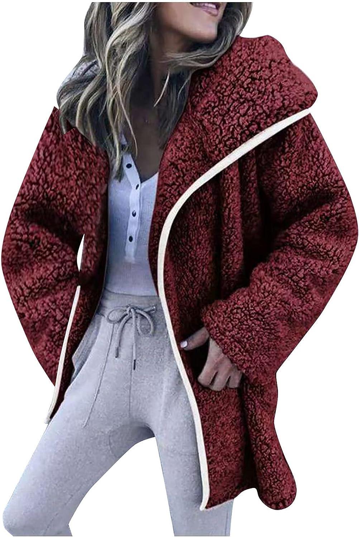Fluffy Coat for Women Casual Lapel Fleece Fuzzy Jacket Warm Winter Coats Zipper Oversized Outerwear Jackets