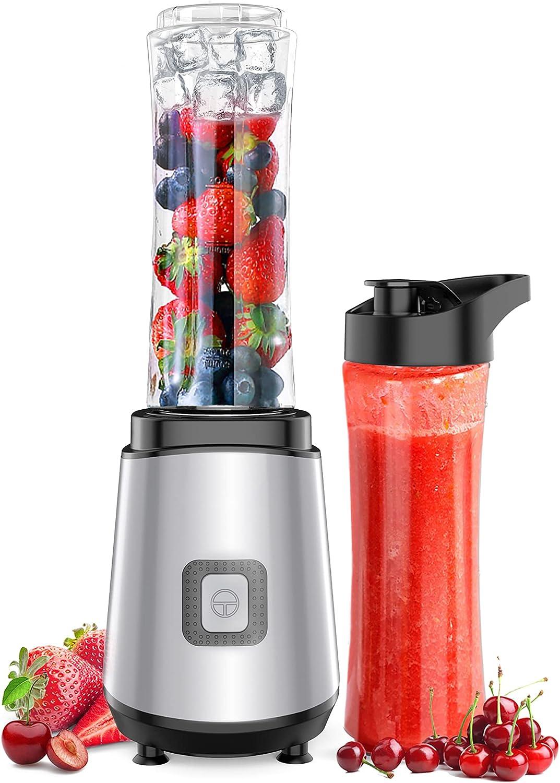Hom Geek Batidora de Vaso, Licuadora Portátil 400W, con 2 Botellas Deportivas Tritan 600ML, Badoras para Verduras y Frutas, sin BPA