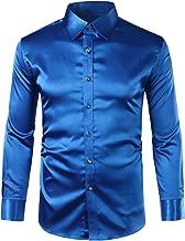 ZEROYAA Mens Regular Fit Long Sleeve Shiny Satin Silk Like Dance Prom Dress Shirt Tops