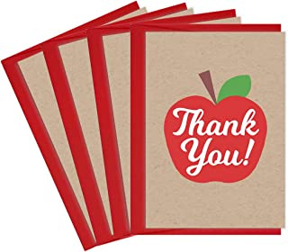 Tiny Expressions Teacher Appreciation School Thank You Cards (4 Pack Apple)
