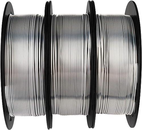 Silk Metallic Shiny Silver PLA Filament Bundle - 1.75mm 3D Printer Filament Each Spool 0.5kg, 3 Spools Pack, Total 1....