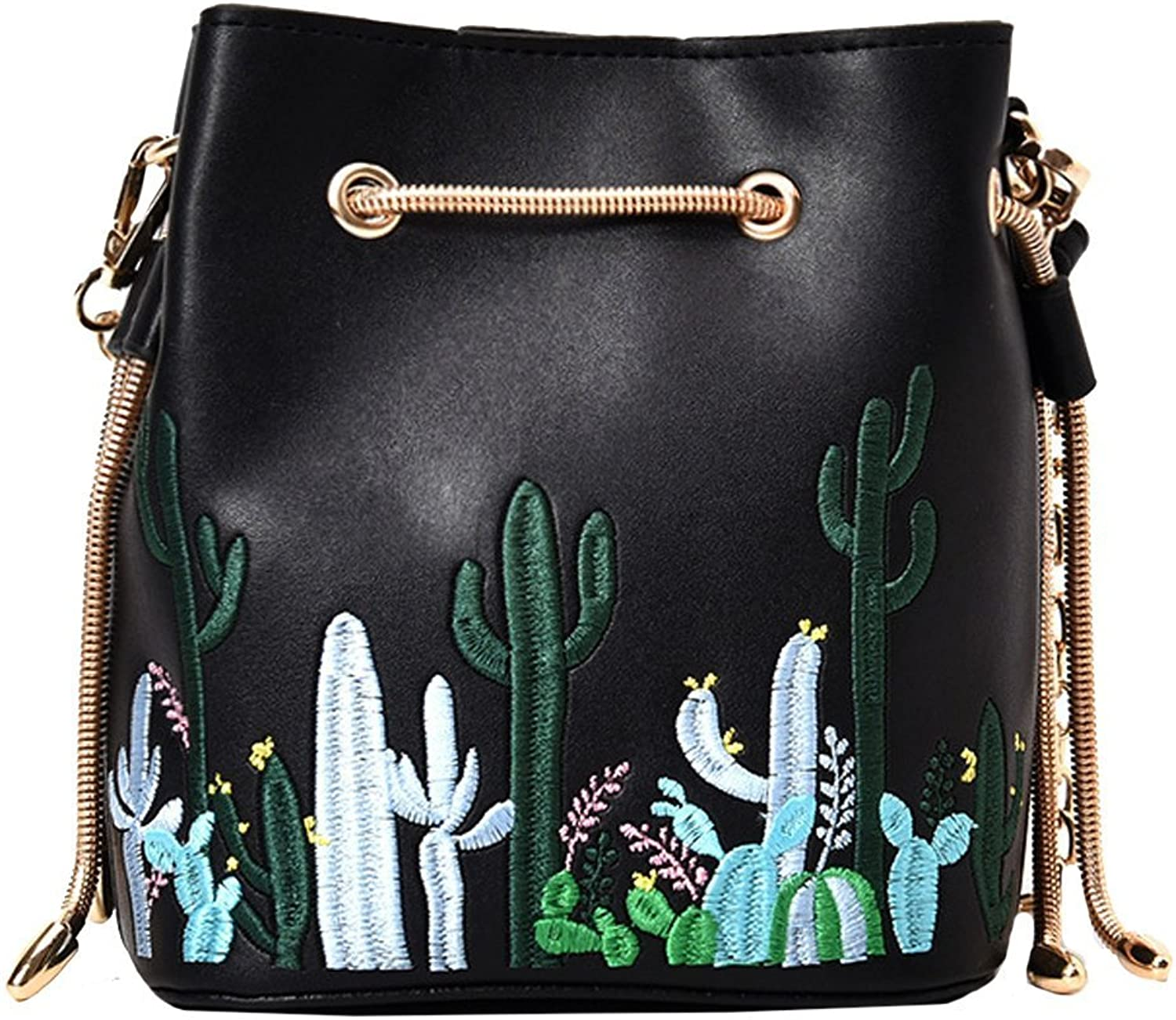 JosephmJohnsonne Womens Mini Bucket Bag Embroidery Cactus Printed Shoulder Bag with Drawstring Chain Crossbody Bag