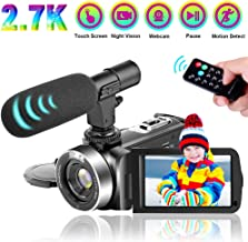 Camcorder Video Camera, Vlogging Camera Ultra HD 2.7K 30FPS 30MP 16X Digital Zoom, 3.0 Inch Touch Screen for YouTube IR Night Vision Camcorder with Microphone, Remote Control (0909-V9)