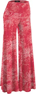 MBJ Womens Comfy Chic Solid Tie-Dye Palazzo Pants - Made...