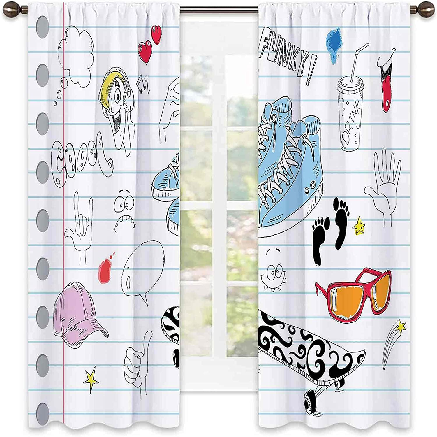 Doodle Wear Resistant Max 58% OFF Fresno Mall Color Curtain Vari with Design Notebook a