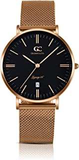 Gelfand & Co. Unisex Minimalist Watch Rose Gold Mesh Band Macdougal 36mm Rose Gold with Black Dial