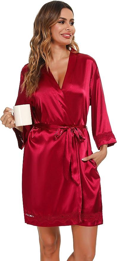 3860 opinioni per Vlazom Kimono in Raso da Donna, Accappatoi e Vestaglie Satin Sexy Pigiama Kimono