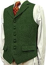 Men's Casual Suit Vest Wool/Tweed Slim Fit Waistcoat Groomsmen Wedding Vest Dress