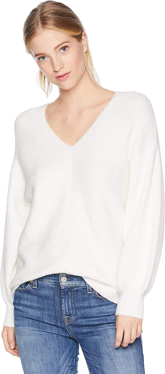 1.STATE Womens VNeck Bubble Sleeve Sweater