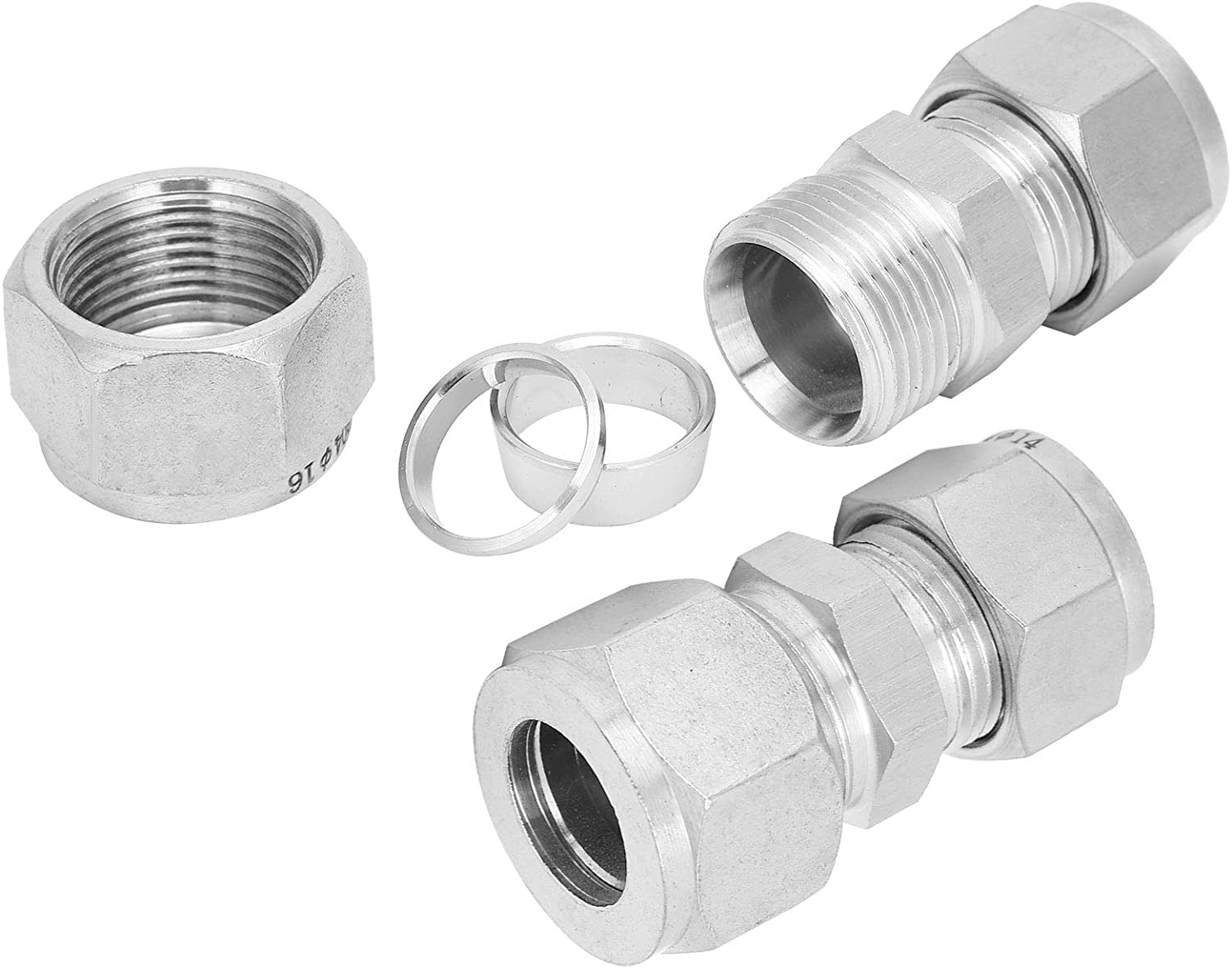 Ф14-Ф16 2Pcs Compression Tube Reducer Adapter Straight Pipe Fitting 304 Stainless Steel Double‑Ferrule Reducer Union