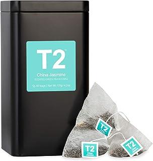 T2 Tea China Jasmine Green Tea in Tea Caddy 60 Teabags, 1 x 60 Count