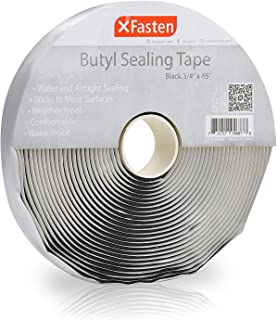 XFasten Black Butyl Seal Tape, 3/4 Inch x 45 Feet, 1/8 Inch Thick, Leak Proof Putty Tape for RV Repair, Window, Boat Sealing, Glass and EDPM Rubber Roof Patching