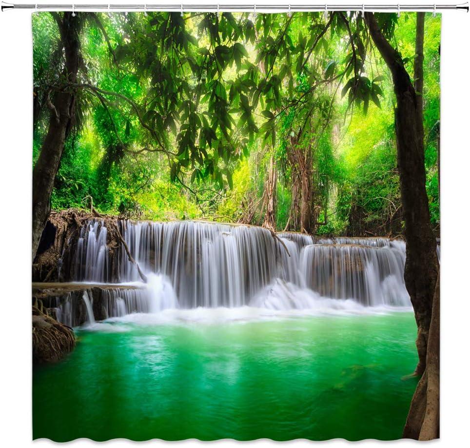 XZMAN 5 popular Forest Washington Mall Waterfall Shower Curtain Rainforest Waterf Thailand