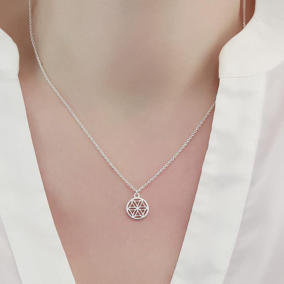 Halskette kleine Lebensblume Blume des Lebens 925 Silber ø 10 mm