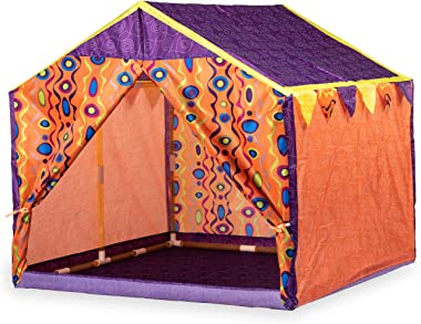 Yoole Kids Play Tent & Playhouse – Indoor/Outdoor Camping Tent for Boys and Girls – Roomy Enough for 2-3 Little Girls Play Together (Orange)