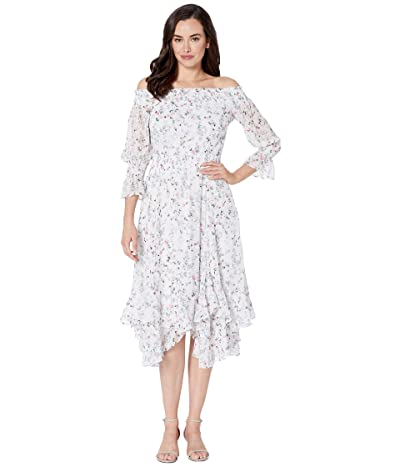 Tahari by ASL Off the Shoulder Printed Swiss Dot Mini Floral with Smockinig Detail (Ivory Multi) Women