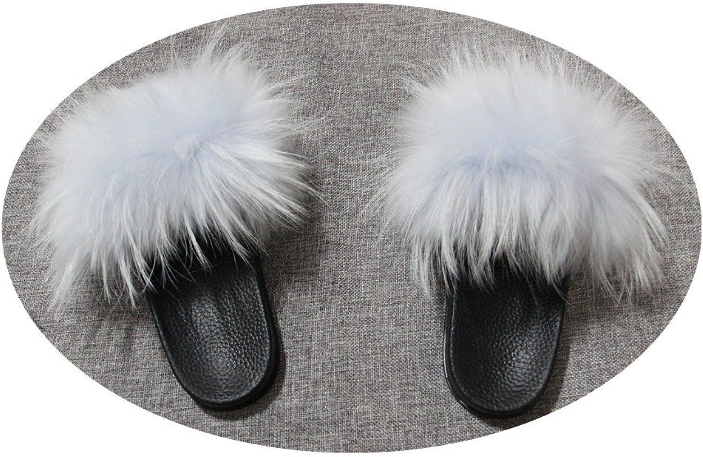 QMFUR Women Real Raccoon Fur Open Toe Single Strap Slip On Sandals (10, Light bluee)