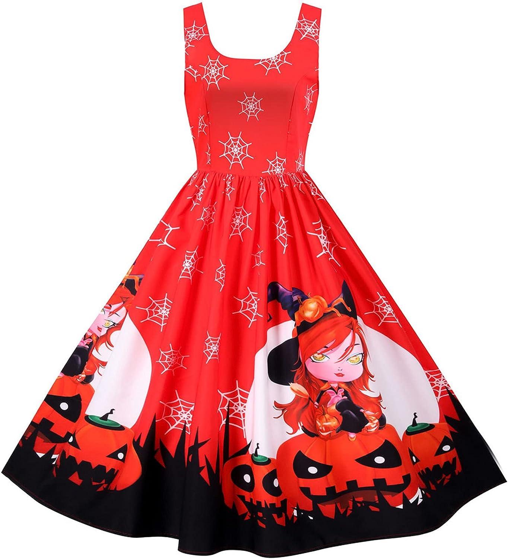 LEXUPA Women's V Neck Tunic Dress Long Sleeve CasualFashion Women Vintage Halloween Print Sleeveless Evening Party Prom Dress