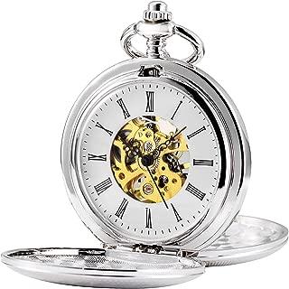 Double Open Skeleton Pocket Watch Mechanical Hand Wind Full Hunter Watch for Men Women