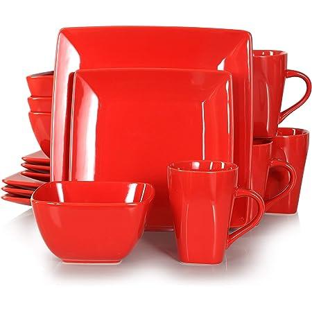 vancasso, Série Soho, Service de Table Complet 16 pièces pour 4 Personnes, Assiette Plates Carrée en Porcelaine avec Bol à Céréales et Tasse- Rouge