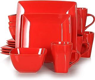 vancasso, Série Soho, Service de Table Complet 16 pièces pour 4 Personnes, Assiette Plates Carrée en Porcelaine avec Bol à...