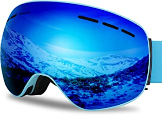 G4Free Ski Snowboard Goggles Over Glasses for Men Women Youth,Magnetic Lens Snow Goggles Frameless Anti-Fog UV Protection Snowboarding Goggles