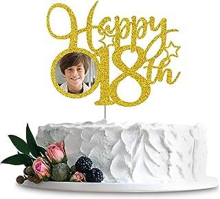 غلاف كعكة مع إطار صورة هابي 18، عيد ميلاد سعيد 18، الذكرى الثامن عشر، الذكرى الثامن عشر، لوازم تزيين حفلات أعياد الميلاد ا...
