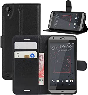 Fettion HTC Desire 530 Case, Desire 630 Case, Desire 555 Case, Desire 550 Case, Premium PU Leather Wallet Flip Phone Protective Case Cover for HTC Desire 530/630 / 555/550 Smartphone (Black)