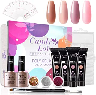 Candy Lover Poly Nail Gel Kit,Pure White Pink Nail Extension Gel Kit Nail Enhancement Builder Gel Kit with 4 Popular Luxurious Colors - Quick Starter Soak Off UV LED Set Tubes in Gift Box