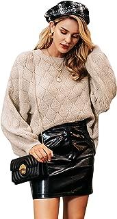Zandiceno Women's Oversized Knit Cropped Sweater Crewneck Lantern Sleeve Warm Pullover Sweaters Jumpers