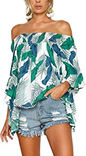 DDSOL Sexy Women`s Off The Shoulder Blouse Tops Ruffle 3/4 Bell Sleeve Summer Casual T Shirts
