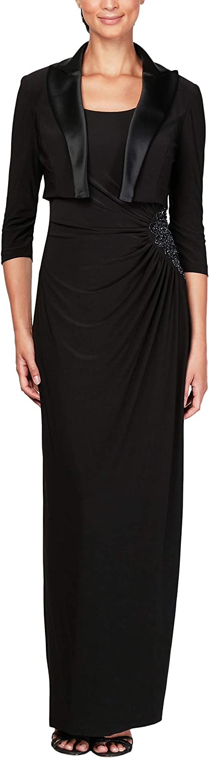 Alex Evenings Womens Ruched Dress with Bolero Jacket (Petite and Regular Sizes) Special Occasion Dress