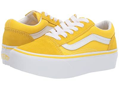 Vans Kids Old Skool Platform (Little Kid/Big Kid) (Vibrant Yellow/True White) Girls Shoes