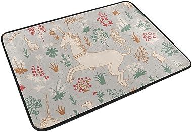 MASSIKOA Unicorns in Magic Forest Non Slip Backing Entrance Mat Floor Mat Rug Indoor Outdoor Front Door Bathroom Mats 23.6 x