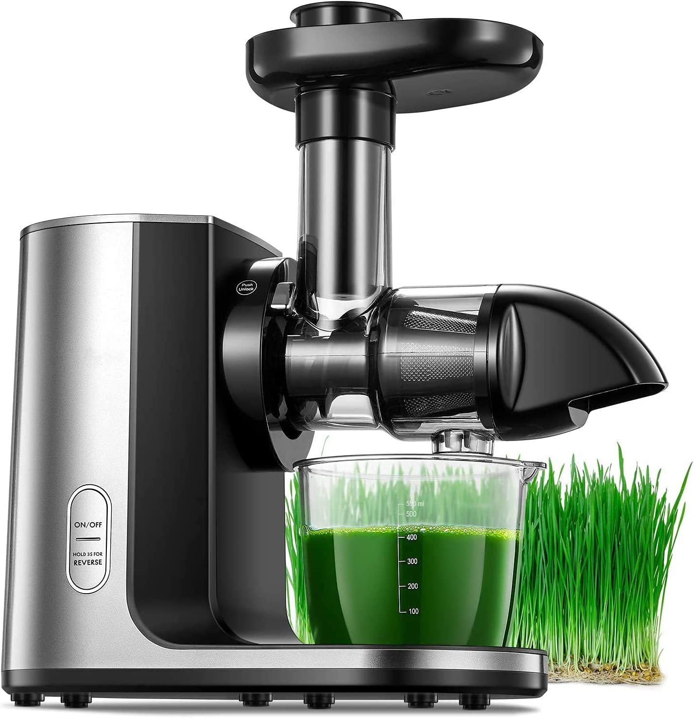 Juicer Machines, Cold Press Masticating Juicer with Quiet Motor, Easy to Clean with Brush, Higher Juice Yield, Slow Masticating Juicer with Reverse Function & Recipes for Vegetables and Fruits Included