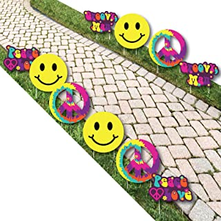 60's Hippie - Peace Sign & Smiley Face Lawn Decorations - Outdoor 1960s Groovy Party Yard Decorations - 10 Piece
