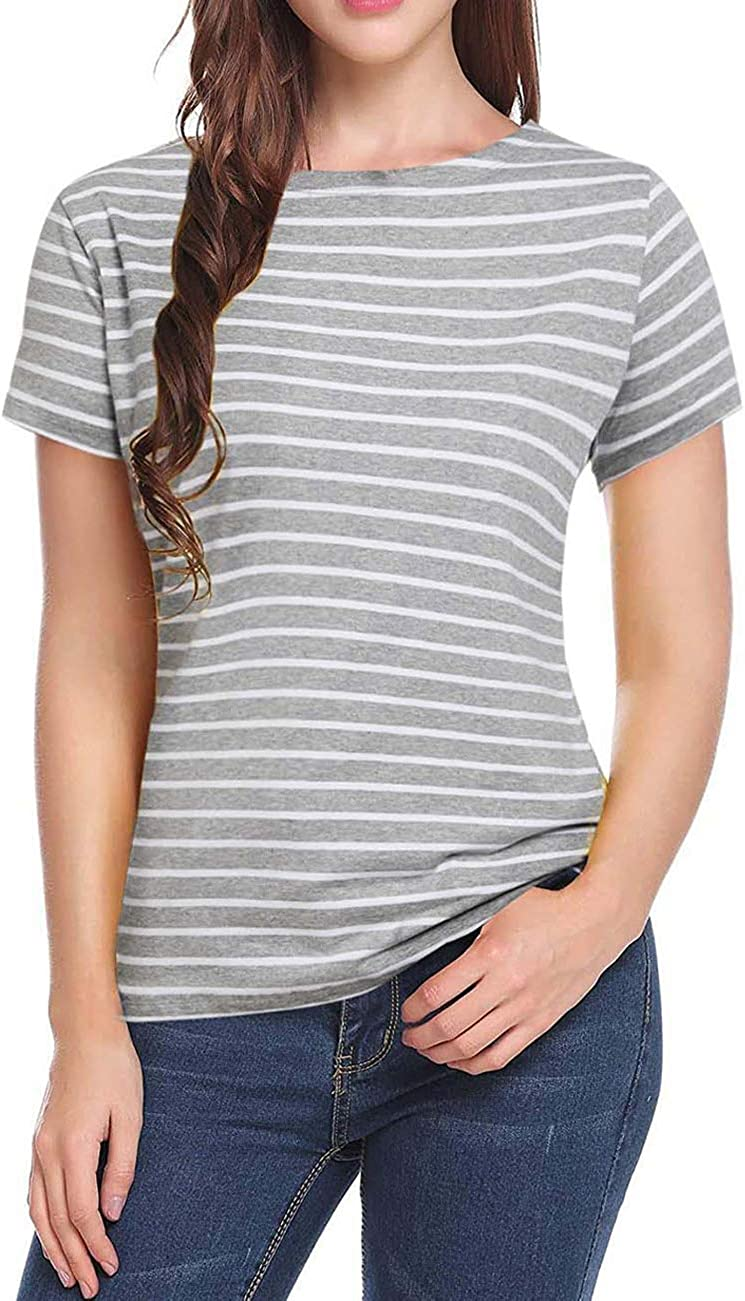 Women's Short Sleeve Striped T-Shirt Tee Shirt Tops Casual Loose Fit Blouses