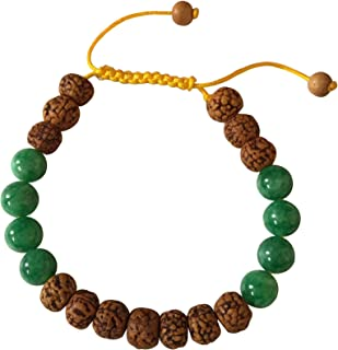 Tibetan Mala Rudraksha and Green Jade Wrist Mala Yoga Bracelet for Meditation